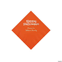 Orange Happy Halloween Personalized Napkins with Silver Foil - Beverage