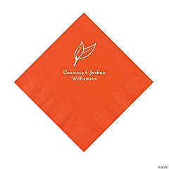 Orange Heart Leaf Personalized Napkins with Silver Foil - Luncheon