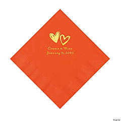 Orange Hearts Personalized Napkins with Gold Foil - Luncheon