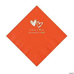 Orange Hearts Personalized Napkins with Silver Foil - Luncheon