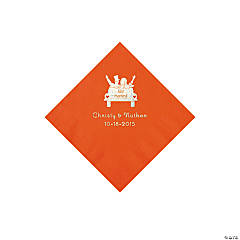 Orange Just Married Personalized Napkins with Silver Foil - Beverage