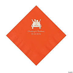 Orange Just Married Personalized Napkins with Silver Foil - Luncheon