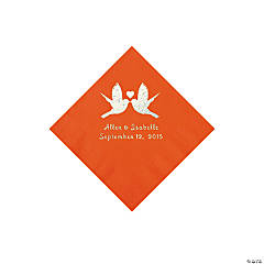 Orange Love Birds Personalized Napkins - Beverage