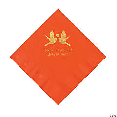 Orange Love Birds Personalized Napkins with Gold Foil – Luncheon