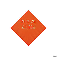 Orange Love is Love Personalized Napkins with Silver Foil - Beverage