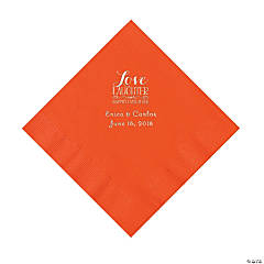 Orange Love Laughter & Happily Ever After Personalized Napkins with Silver Foil – Luncheon