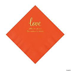 Orange Love Script Personalized Napkins with Gold Foil - Luncheon