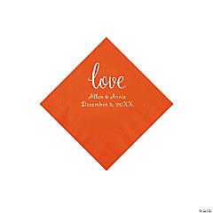 Orange Love Script Personalized Napkins with Silver Foil - Beverage