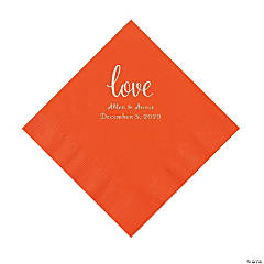 Orange Love Script Personalized Napkins with Silver Foil - Luncheon