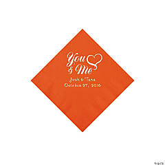Orange Me & You Heart Personalized Beverage Napkins