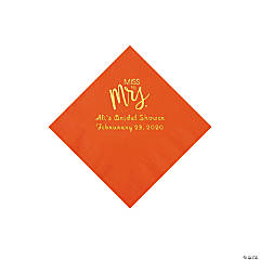 Orange Miss to Mrs. Personalized Napkins with Gold Foil - Beverage