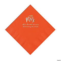 Orange Miss to Mrs. Personalized Napkins with Silver Foil - Luncheon