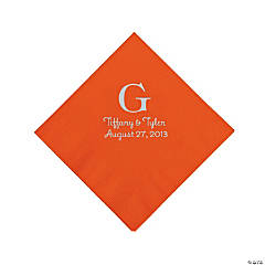 Orange Monogram Personalized Napkins with Silver Foil - Beverage