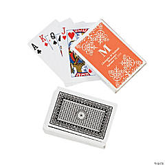 Orange Monogram Wedding Personalized Playing Cards