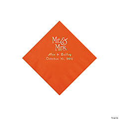 Orange Mr. & Mrs. Personalized Napkins with Silver Foil - Beverage