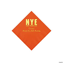 Orange New Year's Eve Personalized Napkins with Gold Foil - Beverage