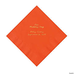 Orange Our Wedding Day Personalized Napkins with Gold Foil - Luncheon