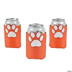 Orange Paw Print Can Coolers
