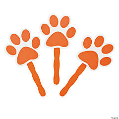 Orange Paw-Shaped Hand Fans