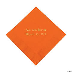 Orange Personalized Beverage Napkins with Gold Print