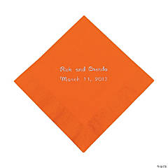 Orange Personalized Beverage Napkins with Silver Print