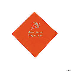 Orange Personalized Graduation Beverage Napkins - Silver Print