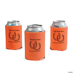 Orange Personalized Horseshoe Can Coolers