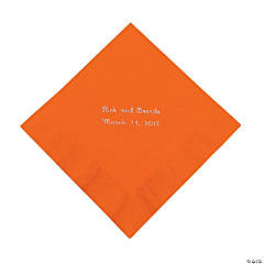 Orange Personalized Luncheon Napkins with Silver Print