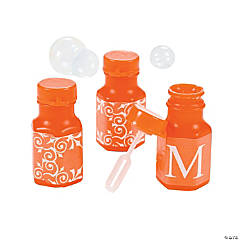 Orange Personalized Monogram Wedding Mini Bubble Bottles