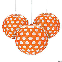 Orange Polka Dot Hanging Paper Lanterns