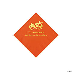 Orange Pumpkin Personalized Napkins with Gold Foil - Beverage