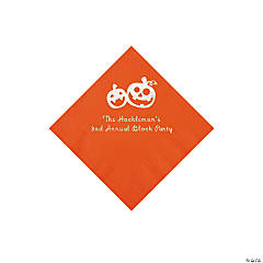 Orange Pumpkin Personalized Napkins with Silver Foil - Beverage