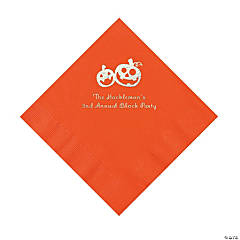 Orange Pumpkin Personalized Napkins with Silver Foil – Luncheon