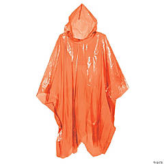 Orange Rain Ponchos for Adults