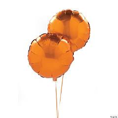 Orange Round Mylar Balloons