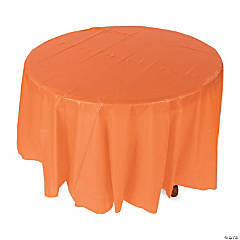 Orange Round Plastic Tablecloth