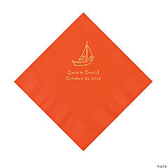 Orange Sailboat Personalized Napkins with Gold Foil - Luncheon