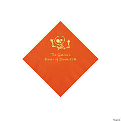 Orange Skeleton Personalized Napkins with Gold Foil - Beverage