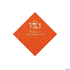 Orange Skeleton Personalized Napkins with Silver Foil - Beverage