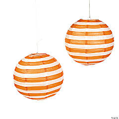 Orange Striped Hanging Paper Lanterns