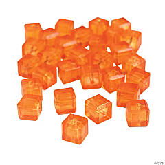 Orange Sunset Cube Cut Crystal Beads - 8mm