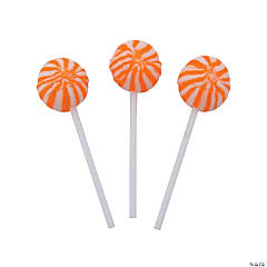 Orange Swirl Ball Lollipops