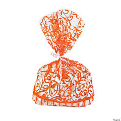 Orange Swirl Cellophane Bags