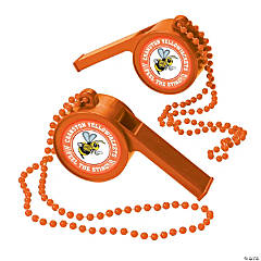 Orange Team Spirit Custom Photo Giant Whistles