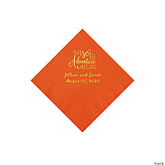 Orange The Adventure Begins Personalized Napkins with Gold Foil - Beverage