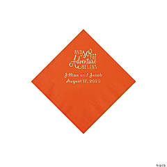 Orange The Adventure Begins Personalized Napkins with Silver Foil - Beverage
