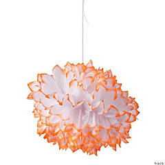 Orange-Tipped Tissue Pom-Pom Decorations