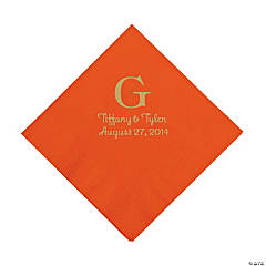 Orange Two Hearts Personalized Luncheon Napkins with Gold Print