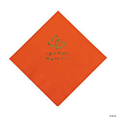 Orange Two Hearts Personalized Napkins with Gold Foil - Luncheon