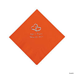 Orange Two Hearts Personalized Napkins with Silver Foil - Luncheon